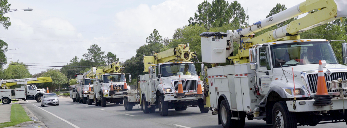 Utility trucks on the move