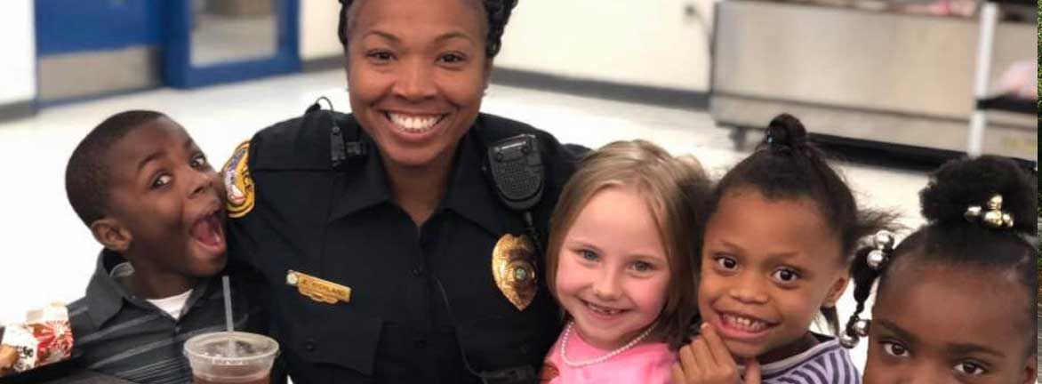 Police officer with kids