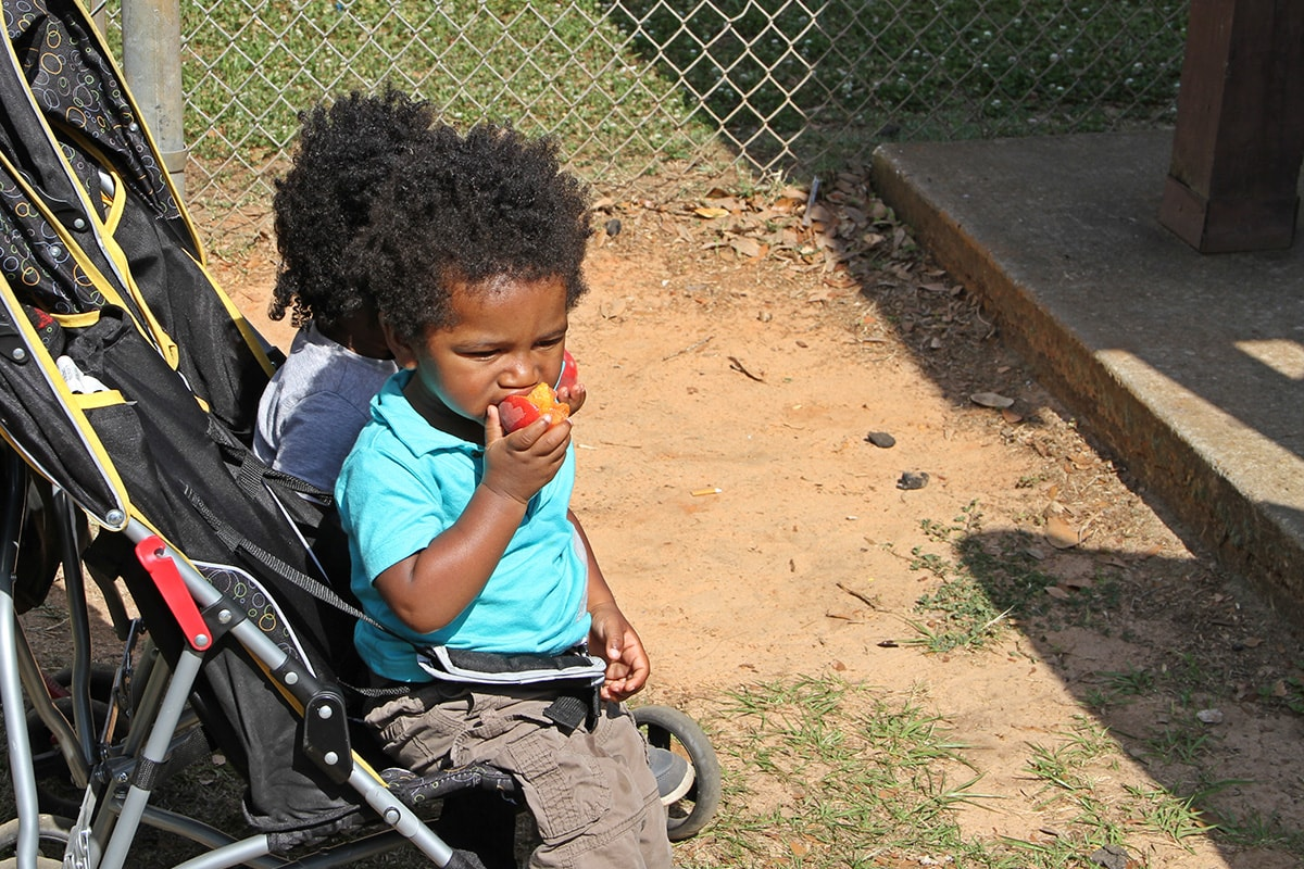 A young boy eats a fresh peach.