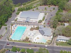 Aerial view of the Aquatics Center