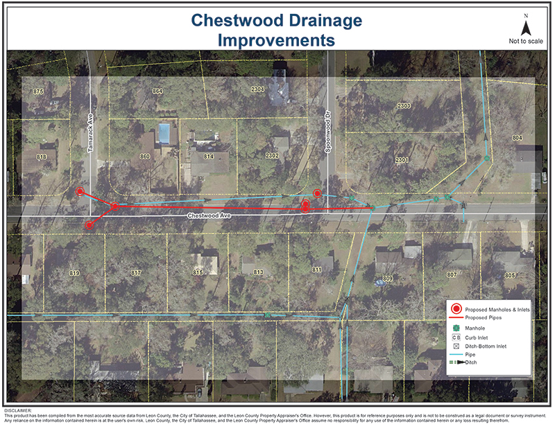 diagram of Chestwood Avenue Drainage Project