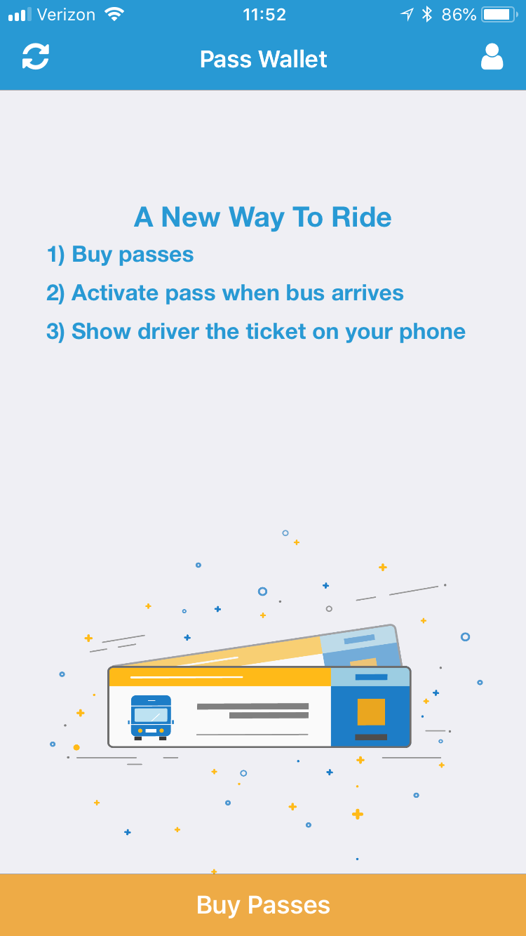 Token Transit app screenshot showing process of buying passes