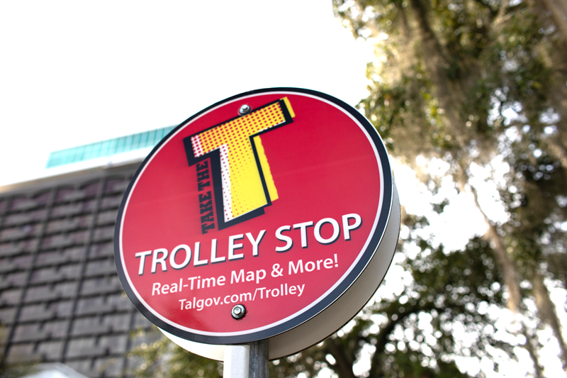 A Trolley stop sign